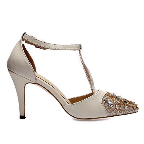 Allhqfashion Dames Gesloten Puntige Koe Lederen Gesp Hoge Hakken Sandalen Met Glas Diamant Beige