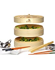 """10"""" Bamboo Steamer Basket Includes Liners, Chopsticks, Ceramic Dish, Bamboo Tongs, And Stainless Steel Dumpling Maker, 2 Tiers Dumpling Dim Sum Steam Cooker For Healthy Low Fat Diet by DoSensePro"""