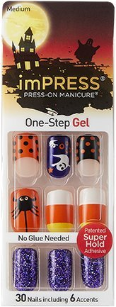 Impress Press-on Manicure Halloween Edition Medium Length, Square Shape Nails - Malice -
