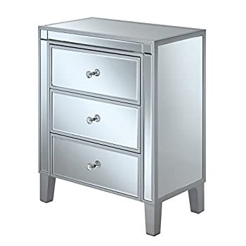 Image of Convenience Concepts Gold Coast 3-Drawer End Table, Silver/Mirror Home and Kitchen
