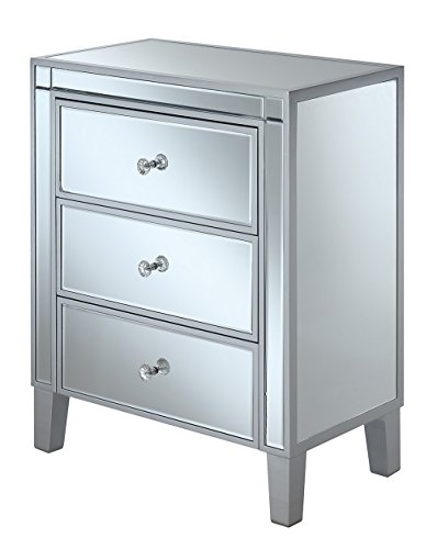 Convenience Concepts Gold Coast 3-Drawer End Table, Silver/Mirror