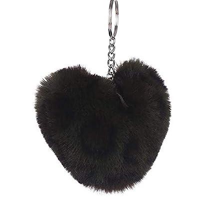 Rarido Pompom - Llavero con pompón, diseño de corazón de ...