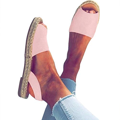 (Womens Peep Toe Espadrilles Walking Flat Sandals Slip On Slingback Flip Flops Casual Shoes Pink)