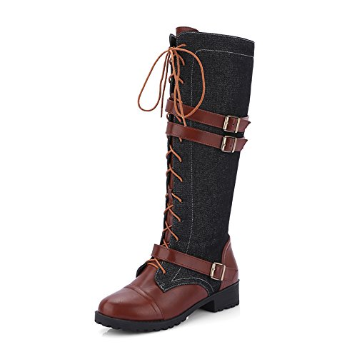 [KARKEIN Women's Inside Zip Military Combat Boots Lace Up Buckle Knee High Denim Riding boots] (Sexy Combat Boots)