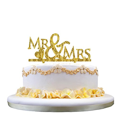 Gessppo Cake Topper Acrylic Insert Card Romantic Mr & Mrs Wedding Party (Acrylic Embosser)