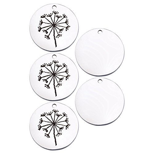HooAMI Stainless Steel Dandelion Round DIY Silver Charms Pendant for Making Bracelet Necklace 25mm Pack of 5