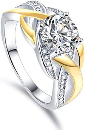 指輪 メンズ メッキゴールドは、女性のお気に入りのリングジュエリーの1つであるスターリングシルバーリング(クラシックな4爪ダイヤモンドリングはより強固)をフェードしません。 (サイズ : 8)