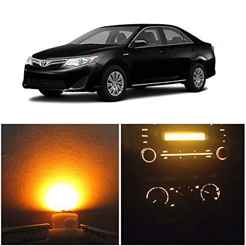 WLJH Yellow Climate Control Panel Lights A/C Dashboard Dash Heater Indicator Light Switch Radio Led Bulbs Replacement Kit For Camry Corolla Tacoma Matrix, Pack of 10: