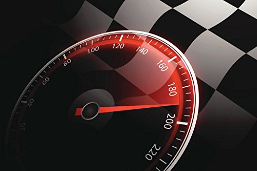 Chequered Flag and Speedometer Auto Racing Art Print Mural Giant Poster 54x36 -