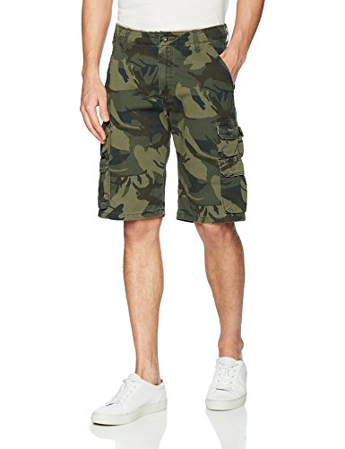 Wrangler Authentics Men's Premium Relaxed Fit Twill Cargo Short, Forest Green Camo, 42