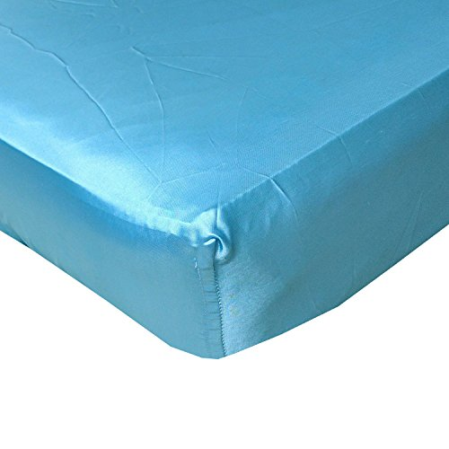 Blue Cloud Satin Fitted Crib Sheet - Fits Standard Crib Mattresses and Daybeds