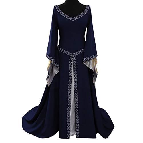 EuoneDress Clearance Sales, Women's Long Sleeve V-Neck Medieval Dress Floor Length Cosplay Dress -
