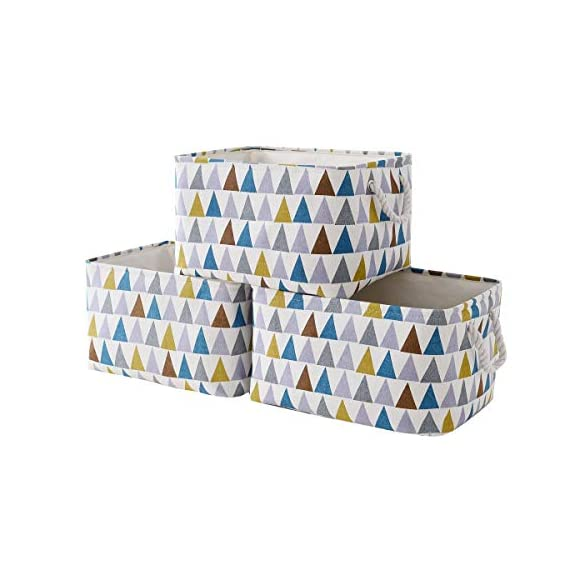 """Fabric Storage Baskets 3-Pack Rectangle Storage Basket Collapsible Baskets for Organizing with Handles for Shelves… - 3 Pack Storage Baskets-15.5"""" L x 11.8"""" W x 8.3"""" H,Functional storage baskets use in the playroom, family room, laundry area, bedroom, closet, storage room, car, etc - Ideal toy baskets or shelf baskets for storage organizer shelves, Home Closet, bookcase , desk, or floor Premium Quality Fabric-This fabric basket is made of durable canvas and thicken environmental EVA,sturdy metal rod frame around the top for stability to keeps its shape even when empty. Durable and high quality material make this storage basket last a good long time.Reinforced cotton rope handles make for easy and comfortable transporting Multi Purpose-Perfect storage basket for toys, books, magazines,dog toys basket,shoe basket,clothes basket,shelf,baby bin,pet toy storage,towel basket,blankets,decorations. Collapsible basket set provides attractive, lightweight solutions to many storage needs while keeping household items tidy and organized - living-room-decor, living-room, baskets-storage - 41Ku7MEUMvL. SS570  -"""
