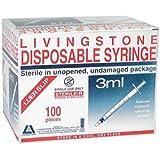 LIVINGSTONE SYRINGE 3ML LUER SLIP WHITE HYPO STERILE 100/BOX