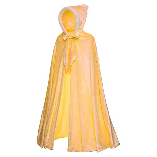 Childrens Capes & Cloaks (Princess Belle Deluxe Costume Soft Velvet Plush Hooded Long Cape Cloak Accessories for Toddler Girls Dress Up Party Size 6 7 8 9 10)