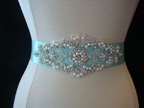 Bridal Sash Belt Aqua Rhinestone Custom Wedding
