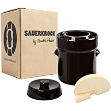 """Humble House Fermentation Crock German-Style SAUERKROCK """"City"""" 2 Liter (0.5 Gallon) Water Sealed Jar, Lid and Weights in Traditional Brown - For Fermenting Sauerkaut, Kimchi and Pickles!"""