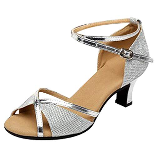 Outtop(TM) Women Low-Heels Dance Shoes Ladies Rumba Waltz Prom Ballroom Latin Salsa Dancing Shoes Sandals (US:5.5, Silver -