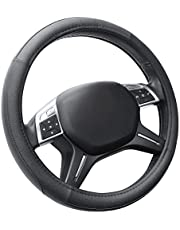 Cofit Microfiber Leather Steering Wheel Cover Universal Size 37-39cm Blue and Black