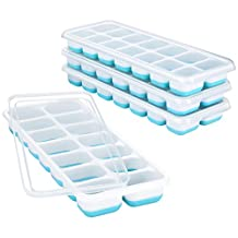 VicTsing Ice Cube Trays 4 Pack, 【Better Sealing】Easy-Release Silicone and Flexible 14-Ice Trays with Spill-Resistant Removable Lid, LFGB Certified & BPA Free, Stackable Durable and Dishwasher Safe