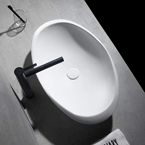 BoPin ラウンド浴室洗面台、カウンタ流域技術バニティ単一流域(タップなし)、利用可能な2つのサイズ上記セラミックシンク ベッセルシンクシンク (Size : 67.5X40.5X13.5cm)