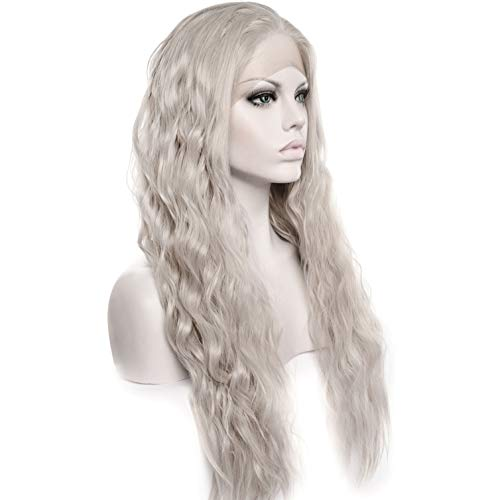 Long Wavy Light Ash Platinum Grey Lace Front Wigs for Women Silver 22 Inches Glueless Lace Front Light Dirty Gray Synthetic Wig Heat Resistant Wavy Ash Long Silver Wig ()
