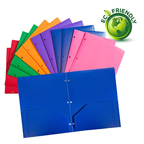 Plastic pocket folders with 3 hole,heavy duty star folders ,Assorted Colors ,Pack of 12