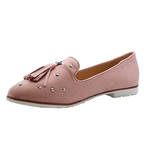 SAUTE STYLES Womens Flats Slip on Fringe Studded Loafers Ballerinas Pumps Shoes Size 3-8 Pink qarjNbkz