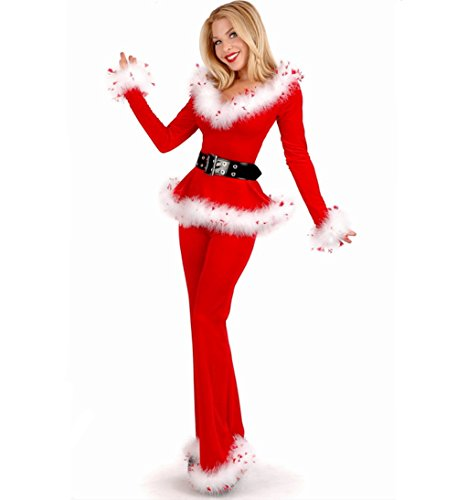 [Women's Red Mrs Santa Claus,Sexy Christmas Costumes Red Fur Splicing Decorative Sets] (Womens Christmas Elf Costume)