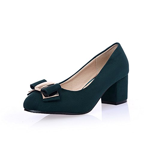 Balamasa Mujeres Chunky Heels Low-cut Uppers Pull-on Suede Bombas-zapatos Darkgreen
