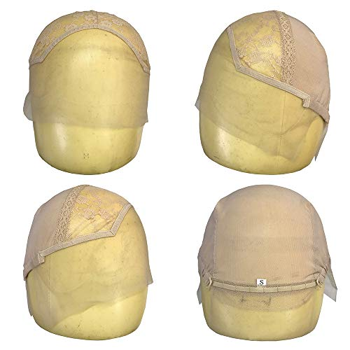 Blizzard Lace Front Wig Cap for Making Wigs with Adjustable Strap Glueless Weaving Cap Wig Caps (Large 23.5inch, Beige)