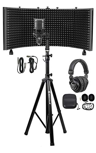 Rockville Pro Recording Studio Microphone Mic+Isolation Shield+Headphones+Stand (Best Music Studio Microphone)