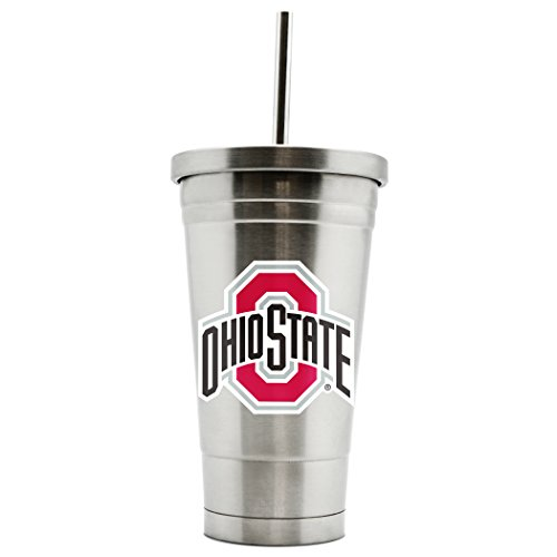NCAA Ohio State Buckeyes 17oz Double Wall Stainless Steel Thermo Tumbler with -