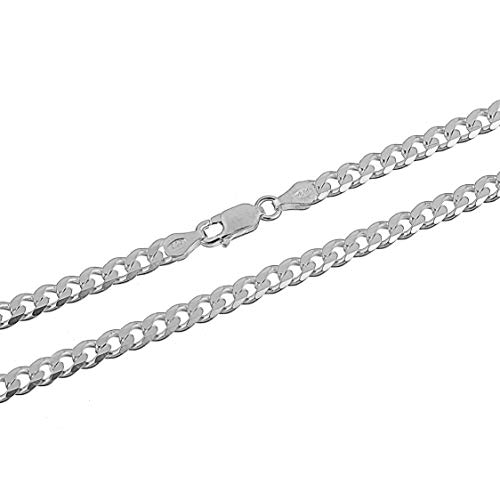 (4.5mm 925 Sterling Silver Cuban Curb Link Chain Necklace Italian 18)