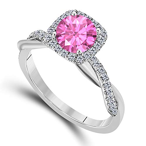 (DreamJewels 2.00 CT Created Pink Sapphire Emerald Cut Celebrity Halo Twisted Shank Bridal Engagement Wedding Ring 14k White Gold Finish Alloy for Women's)