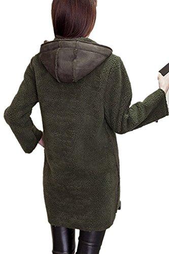 Frente Casual cremallera abierta de la mujer abrigos de lana capa con bolsillos Armygreen