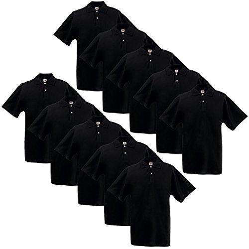 Anself 10 x Herren Poloshirt Polohemd Kurzarm Gr. XL 100% Baumwolle Schwarz