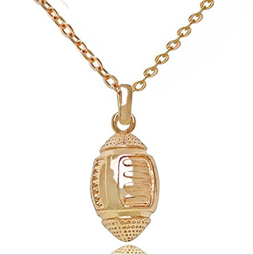 Fashion Girls Boys Zinc Alloy Hip-hop Rugby Necklace Sports Player Circular Shape Pendant Jewelry