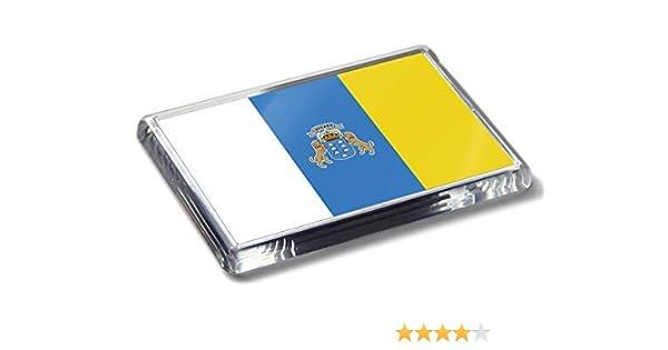 Imán para nevera con diseño de bandera de las Islas Canarias, colores nacionales fuertes de acrílico para decoración del hogar: Amazon.es: Hogar