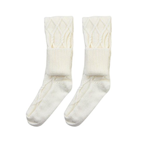 Winter Socks,kaifongfu Thermal Casual Solid Soft Knee-High Cotton Warmer Solid Edge Socks (free size, White)