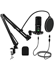USB Microphone Kit, FURINE Type-C Plug and Play Professional Podcast Microphone Kit with Gain Knob Noise Reduction for Gaming Recording Broadcasting YouTube Video Twitch-CM2001