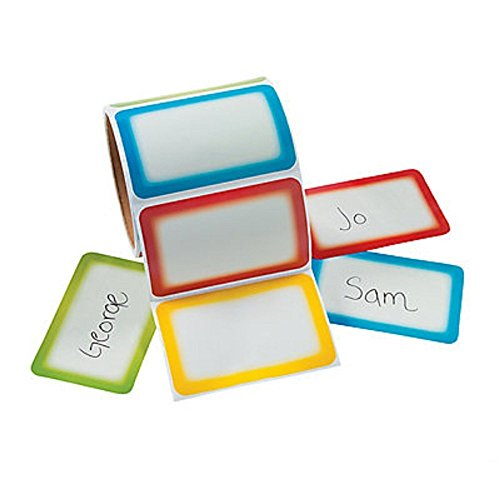 Immuson 200 Plain Name Tag Labels Colorful Border Name Tag Stickers School Office Party Stickers