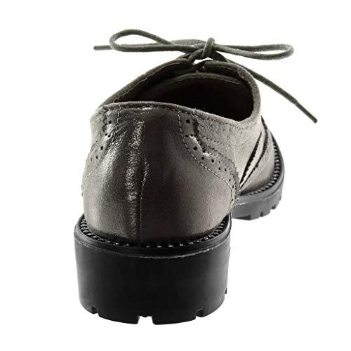 Strass Blocco Materiale 5 bi 3 Angkorly CM a Derby Donna Scarpa Elegante Perforato Scarpe Moda Grigio Tacco zBBwgHp