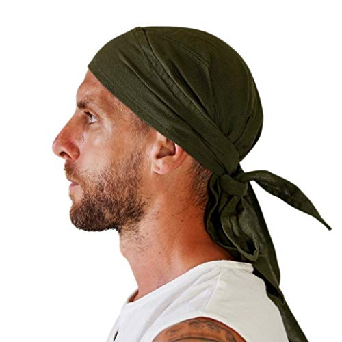 Zootzu 'Pirate Bandana' Biker Skullcap Renaissance Medieval Hat (Green)]()