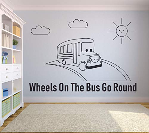 (The Wheels on The Bus Go Round Kids Song Jingle Wall Sticker Vinyl Wall Art Decal for Girls Boys Baby Kids Bedroom Daycare Nursery Kindergarten Home Decor Wall Art Vinyl Decoration Size (18x30 inch))
