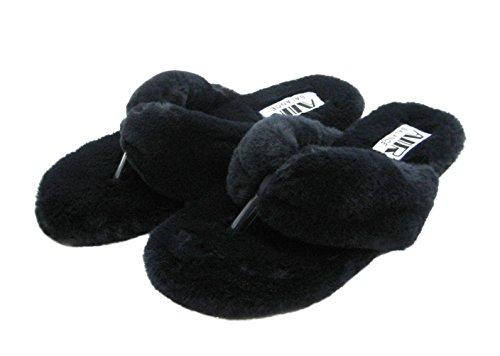Mode Blauwe Trendy Schattige Kleuren Dames Furry Fur Slide Navy Flip Flop