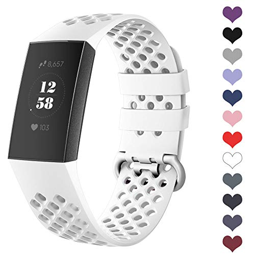 DEKER Sport Bands Compatible for Fitbit Charge 3 Bands Charge 3 SE Fitness Tracker Women Men, Breathable Holes Silicone Smart Watch Strap Small Large Accessories Wristbands (White, Large)