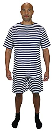 Men's Vintage Christmas Gift Ideas 1900s Striped Bathing Suit $51.95 AT vintagedancer.com