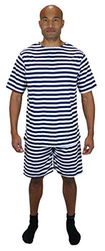 [Historical Emporium Men's 1900s Striped Bathing Suit 2X Blue/White] (1920s Halloween Costumes Antique)