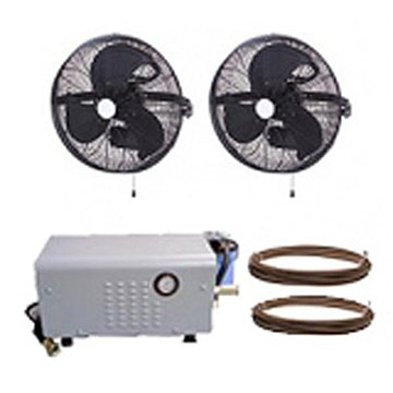 HIGH PRESSURE 1000psi - 18'' 2 Fan Wall Mount Mist Kits w/ enclosed pump by Advanced Systems